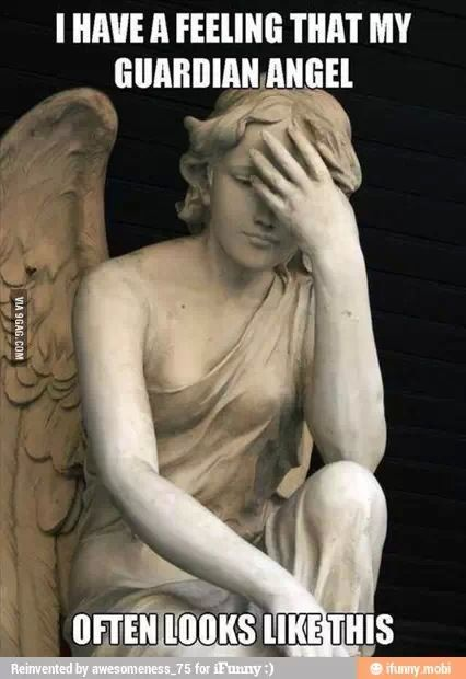 I have a feeling that my Guardian Angel often looks like this...